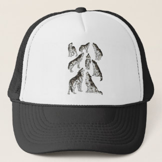 Geometric Wolves Howling At Moon Trucker Hat