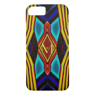 Geometric Yellow Turquoise Blue Red Monogram iPhone 8/7 Case