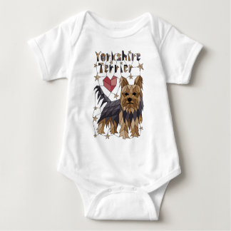 Geometric Yorkshire terrier Baby Bodysuit