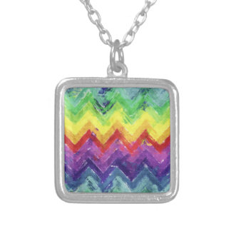 Geometric Zigzag Watercolor Silver Plated Necklace