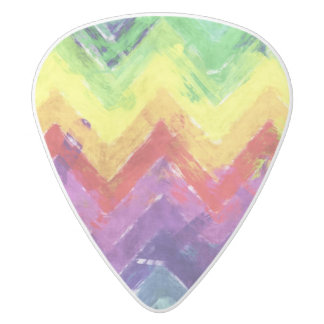 Geometric Zigzag Watercolor White Delrin Guitar Pick