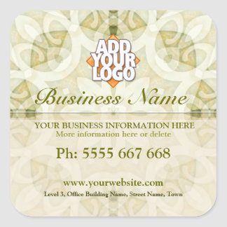 Geometrica Floral Earth Green w/ Logo Business Square Sticker