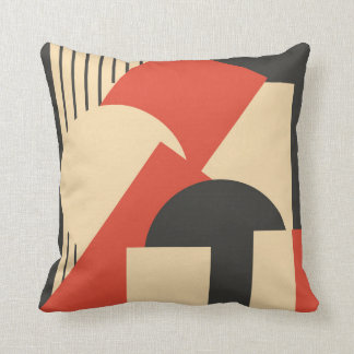 Geometrical abstract art deco mash-up throw pillow