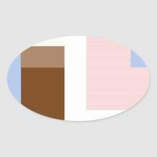 Geometrical abstract design oval sticker