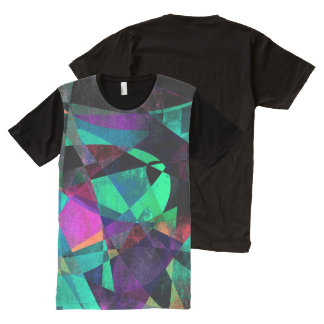 Geometrical, Colorful, Grungy Abstract Art All-Over Print T-Shirt