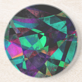 Geometrical, Colorful, Grungy Abstract Art Coaster