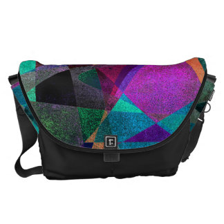 Geometrical, Colorful, Grungy Abstract Art Commuter Bags