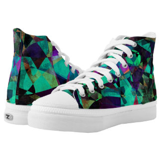 Geometrical, Colorful, Grungy Abstract Art High Tops