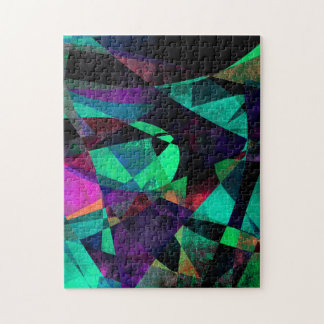 Geometrical, Colorful, Grungy Abstract Art Jigsaw Puzzle