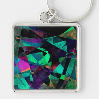 Geometrical, Colorful, Grungy Abstract Art Key Ring