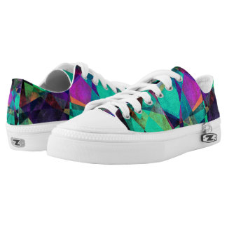 Geometrical, Colorful, Grungy Abstract Art Low Tops