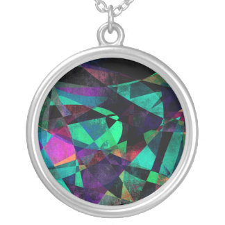 Geometrical, Colorful, Grungy Abstract Art Silver Plated Necklace