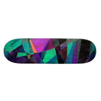 Geometrical, Colorful, Grungy Abstract Art Skateboard