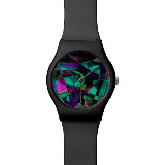 Geometrical, Colorful, Grungy Abstract Art Watch