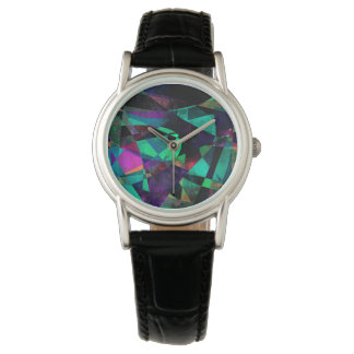 Geometrical, Colorful, Grungy Abstract Art Watches