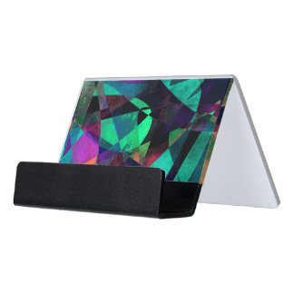 Geometrical, Colorful, Textured Abstract Art Desk Business Card Holder
