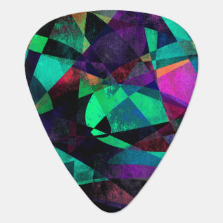 Geometrical, Colorful, Textured Abstract Art Guitar Pick