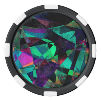 Geometrical, Colorful, Textured Abstract Art Poker Chips