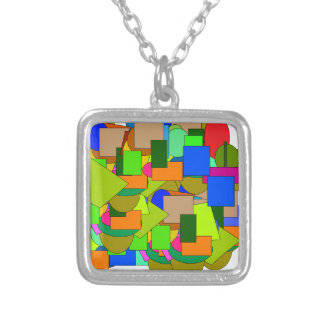 geometrical figures silver plated necklace