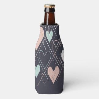 Geometrical hearts background Bottle Cooler