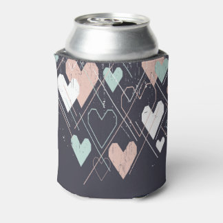 Geometrical hearts background Can Cooler