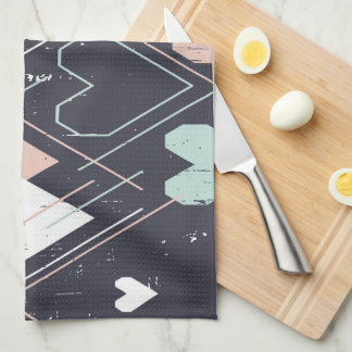 Geometrical hearts background Kitchen Towel