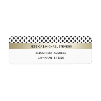Geometrical luxury dots modern gold /white wedding return address label