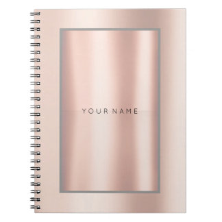 Geometry Blush Pink Rose Powder Metallic Minimal Notebook