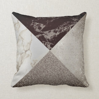 Geometry Caffe Noir  Sparkly Foxier Gold Marble Cushion