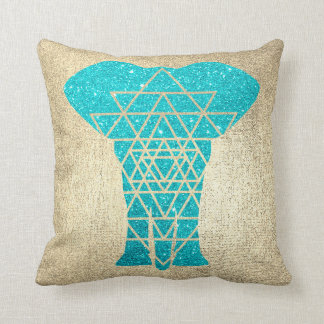 Geometry Gold Foxier Ocean Glitter Elephant Cushion