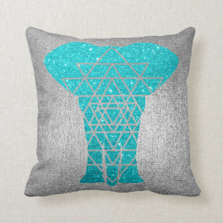 Geometry Gray Silver Ocean Glitter Elephant Cushion