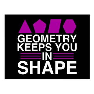 Geometry Keeps you in Shape Math Pun Joke Postcard