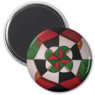Geometry mandala 6 cm round magnet
