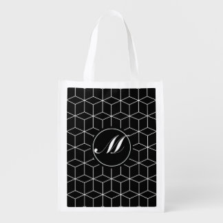 Geometry Pattern and Monogram Reusable Grocery Bag