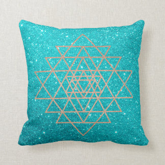Geometry Peach Pink Rose Gold Ocean Aqua Glitter Cushion