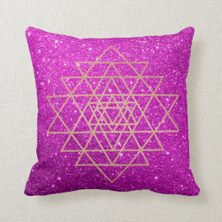 Geometry Peach Pink Rose Gold Purple Glitter Cushion