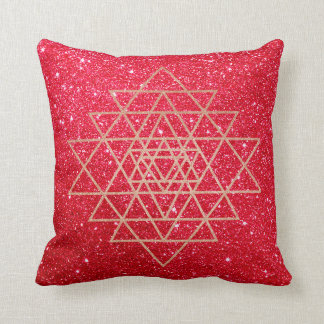 Geometry Peach Pink Rose Gold Triangle Red Glitter Cushion