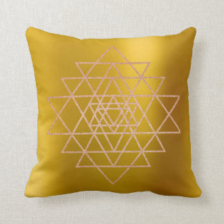 Geometry Peach Pink Rose Gold Triangles Mustard Cushion