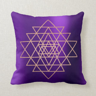 Geometry Peach Pink Rose Gold Triangles Purple Cushion