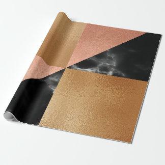 Geometry Pink Rose Brush Shiny Brush Black Marble Wrapping Paper