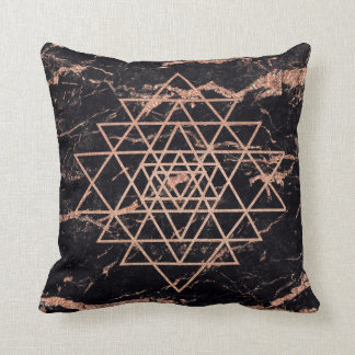 Geometry  Pink Rose Gold Triangle Marble Black Cushion
