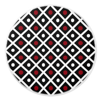 Geometry Red Circle & White Argyle Square Pattern Ceramic Knob