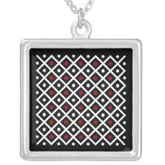 Geometry Red Circle & White Argyle Square Pattern Silver Plated Necklace