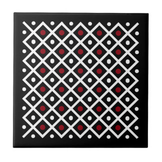 Geometry Red Circle & White Argyle Square Pattern Tile