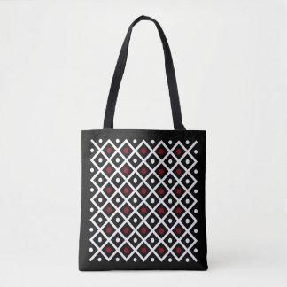 Geometry Red Circle & White Argyle Square Pattern Tote Bag