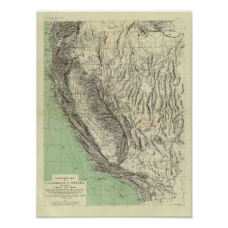 Geomorphic map, California, Nevada Poster