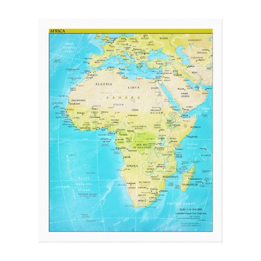 Geopolitical Regional Map of Africa Gallery Wrapped Canvas