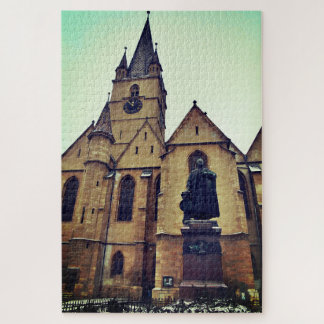 Georg Daniel Teutsch Statue And Lutheran Cathedral Jigsaw Puzzle