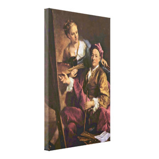 Georg Desmarees - Artist with his daughter Gallery Wrapped Canvas