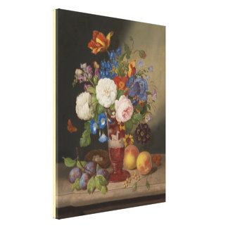 Georg Seitz Bouquet in a Vase Surrounded by Fruits Canvas Print